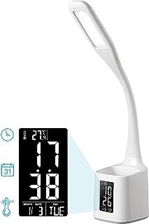 Houcopa LED Desk Lamp with Pen Holder, Calendar, 3-Level Dimmer Eye-Caring Table Lamp for Student/Reading/Office (White)
