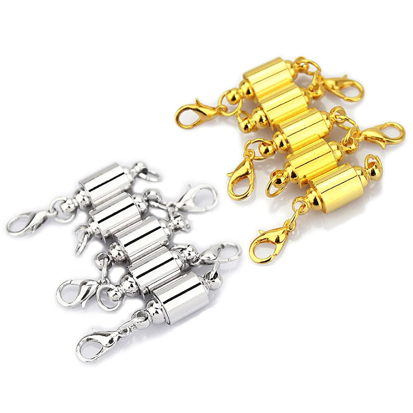 LolliBeads (TM) Barrel Style Magnetic Jewelry Clasps Findings Magnetic Lobster Clasps for Necklace 8 mm Silver/Gold Mixed 10 Sets l26986500580027