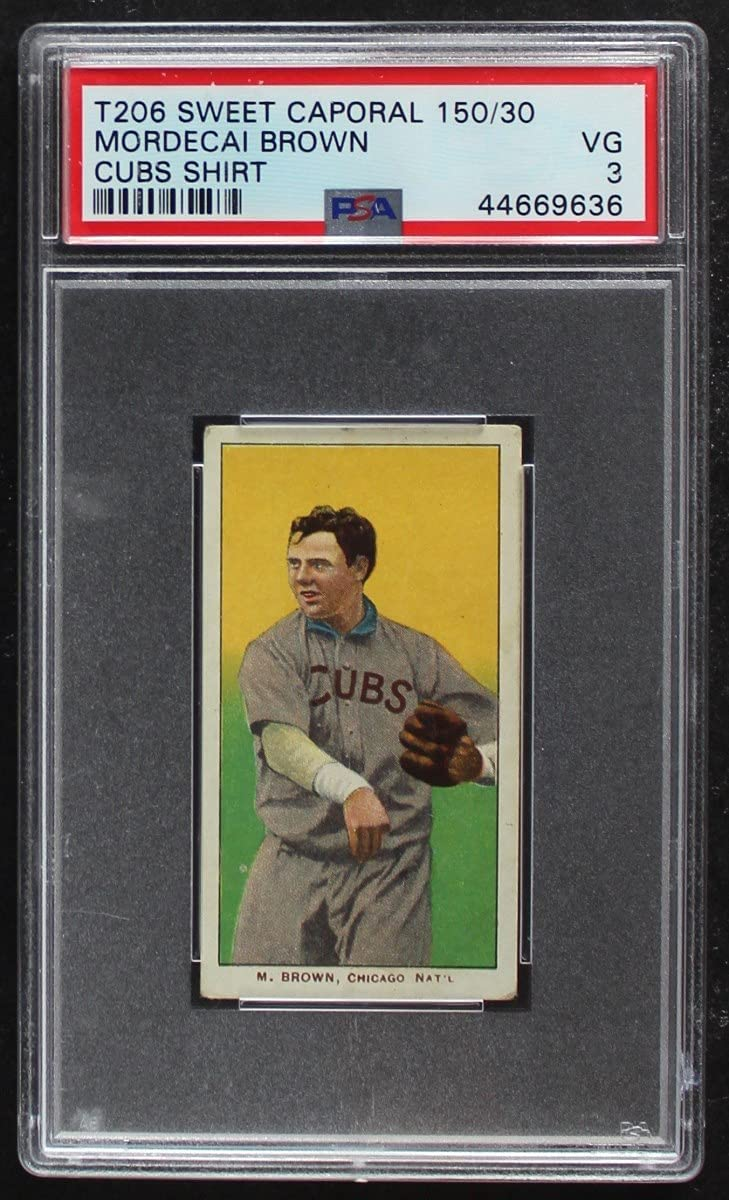 1909 T206 CUBS Fresno Mall Mordecai Brown Baseball Excellent Cubs Card Chicago
