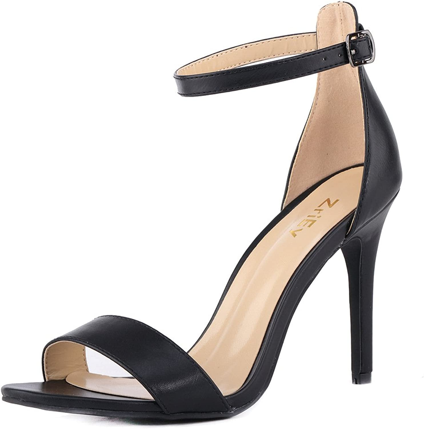 ZriEy Women's Heeled Sandals Ankle Strap High Heels 10CM Open Toe Bridal Party shoes