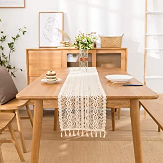 DegGod Natural Macrame Table Runner with Tassels, Vintage Wedding Cotton Crochet Lace Moroccan Woven Table Runner for Bohe...