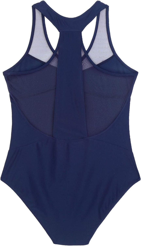 inlzdz Womens Mesh Splice V-Neck Racer Back Gymnastics Ballet Leotard Bodysuit Dancewear