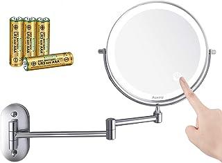 Auxmir Espejo Maquillaje con Luz LED Aumento 1X/10X Espejo Cosmético Iluminoso de Doble Cara con Pilas, 360 Rotación, Luce...