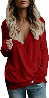 vermers Women Sweater Women's Knitted Deep V-Neck Long Sleeve Tops Casual Wrap Front Loose Pullover Jumper