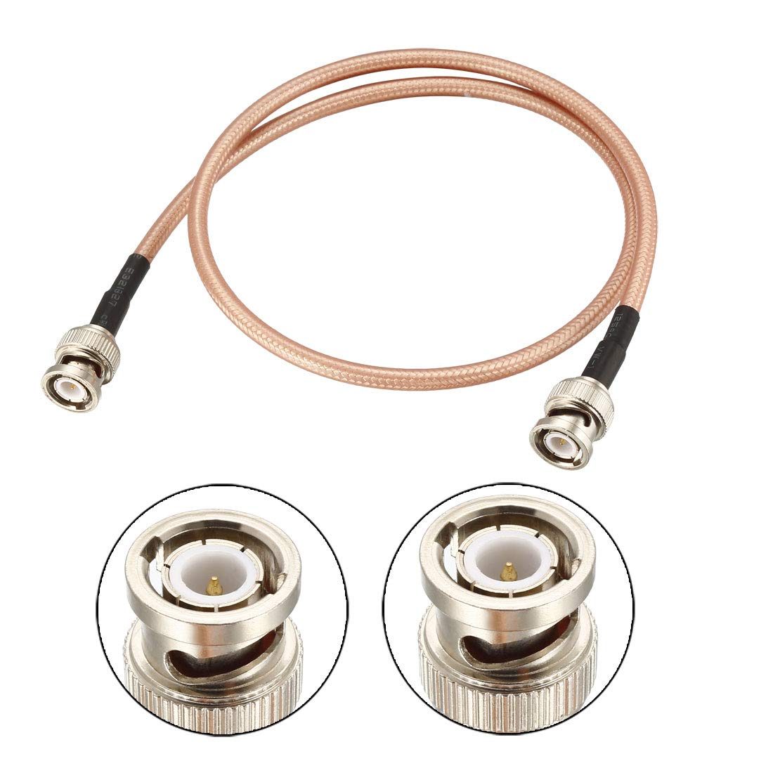 uxcell BNC Male to BNC Male Coax Cable RG400 Low Loss RF Coaxial Cable 50 ohm 0.9M//3Ft