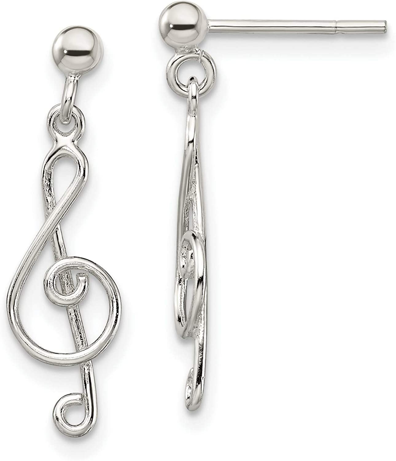 Sterling Silver Polished Treble Clef Post Earrings Dangle Ball Fees 5% OFF free 2
