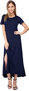 AIYIPIN Women's Short Sleeve Dress Split Hem Sexy Dresses Maxi Long Dress