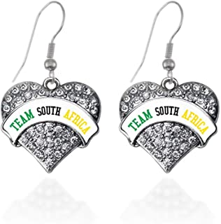 Inspired Silver - Silver Pave Heart Charm French Hook Drop Earrings with Cubic Zirconia Jewelry