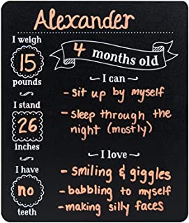 Custom Product Solutions Monthly Baby Stats and Milestones Months Old Reusable Plastic Chalkboard Gender Neutral Photo Prop Board for Use with Chalk and Chalk Markers, 10