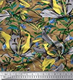 Soimoi Braune Seide Stoff Blätter & Floral Bedruckte