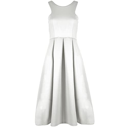 Womens Plus Size Sleeveless Side Bow Shift Pleated Ponte  Party Dress 8-22