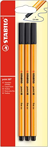 Stylo feutre pointe fine - STABILO point 88 - Pack de 3 stylos-feutres - Noir