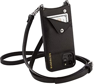 Bandolier Emma Crossbody Phone Case and Wallet - Black Leather with Silver Detail - Compatible with iPhone 11 ProMax Only