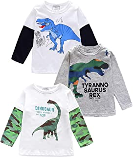 HZXVic Baby Boys' 3-Pack Long Sleeve Tees Tops Cotton Toddler Kids Tshirt