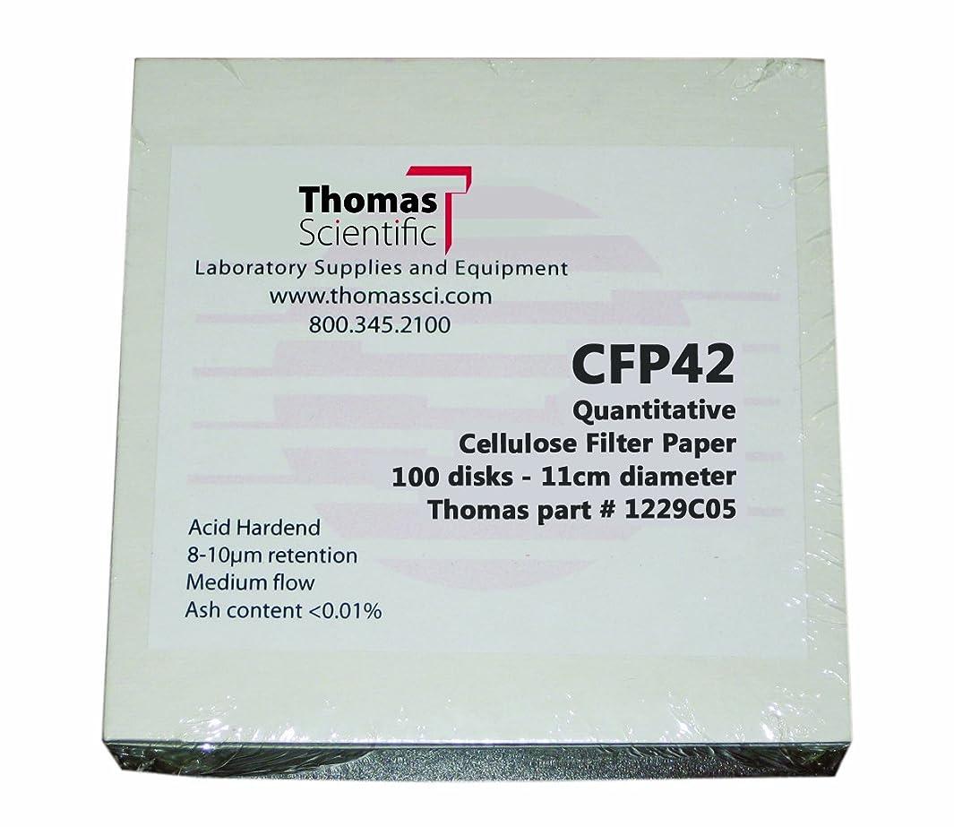 Thomas CFP42-090 Cellulose Quantitative Filter Paper, 9cm Diameter, 2-3 Micron, Slow Flow, Grade CFP42 (Pack of 100)