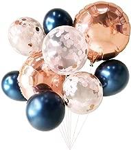 Metallic Navy Blue Balloons Rose Gold Confetti Balloons 9PCs Wedding Balloons Bridal Shower Decoration