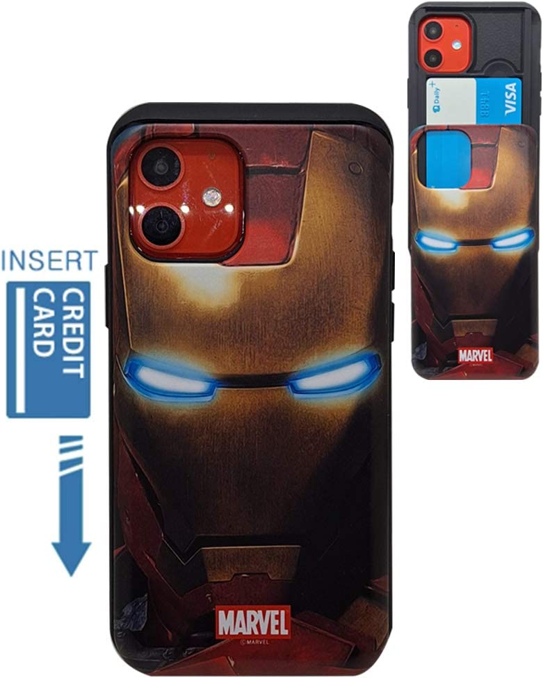 [iPhone 12 Wallet Case/iPhone 12 Pro Wallet Case] KUBRICK Card Holder Slide Cover Bumper Phone Case Dual Layer Protection Super Heroes UV Printing (Iron Man)