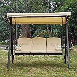 3-Sitzer Hollywoodschaukel Gartenschaukel mit Sonnendach Kissen Metall - 2