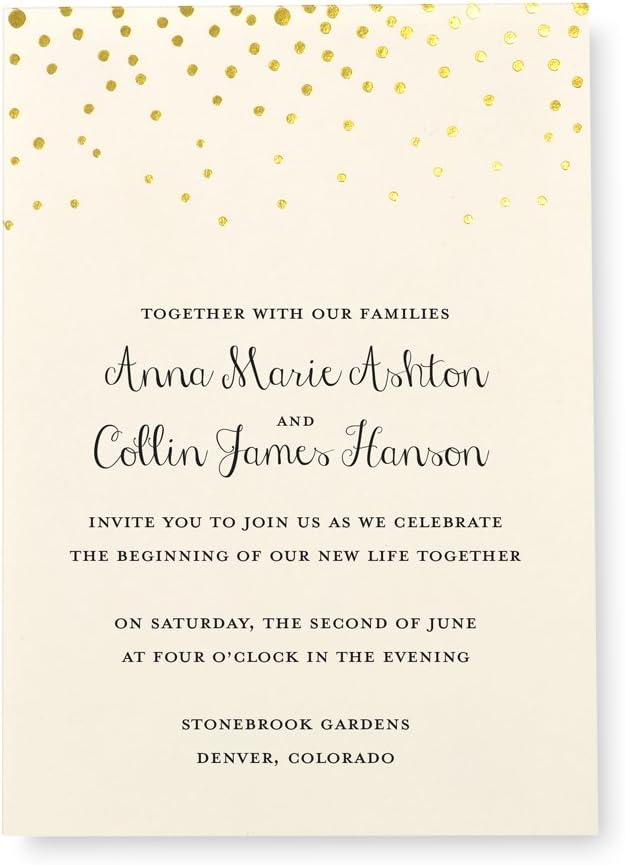 Gartner Studios Gold Foil Dots Print at Home Wedding Invitation Kit, Cream