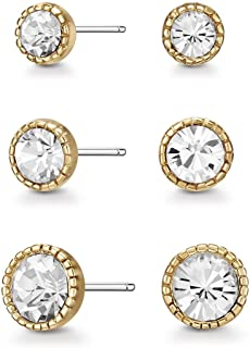 Mestige Women Glass Gold Annie Earring Set with Swarovski Crystals