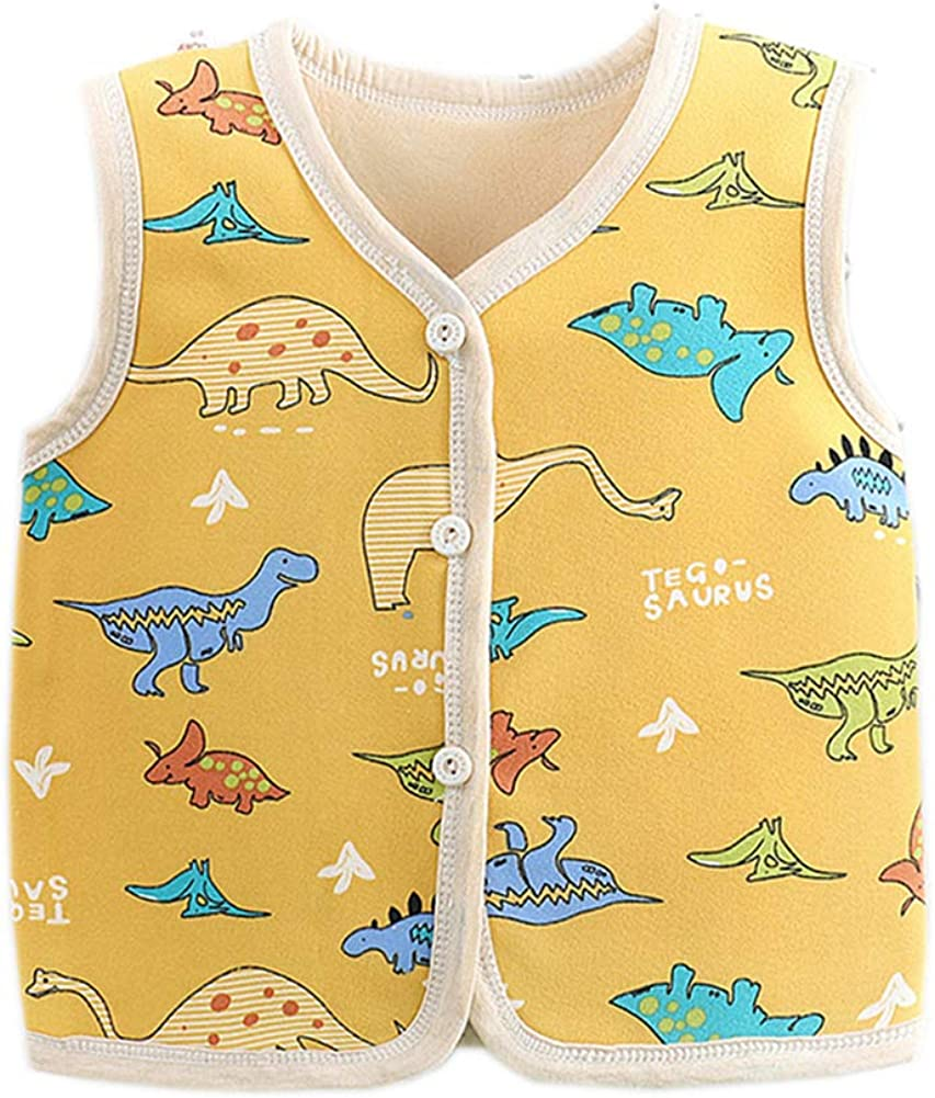 Kids Cotton & Polyester Waistcoat Infant (6 Years) Fleece Vests for Warm Spring/Fall and Cold Winter 6-12 Months Yellow Dinosaur
