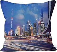 Nine City Beautiful Modern Cityscape at Night in Shanghai Burlap Pillow,HD Printing for Couch Sofa Bedroom Livingroom Kitchen Car,16
