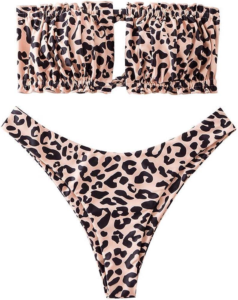 ZAFUL Women Cutout Swimsuit, Sexy High Cut Keyhole Bikini Tie Side String Bathing Suit Swimwear