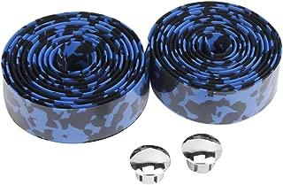 Road Bike Bicycle Cork Handlebar Tape Wrap + Bar Plugs--Blue with Black