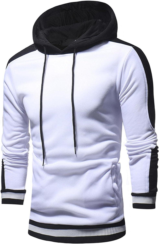 aihihe Mens Pullover Hoodies Long Sleeve Color Block Fleece Hooded Sweatshirt Sport Outwear