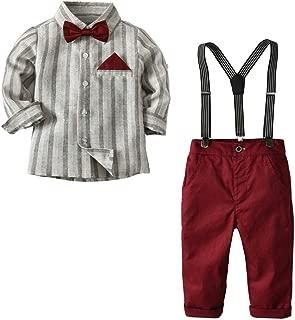 Toddler Baby Little Kids Boys Gentleman Stripe Top T-Shirt Plaid Trousers Pants Set Outfit