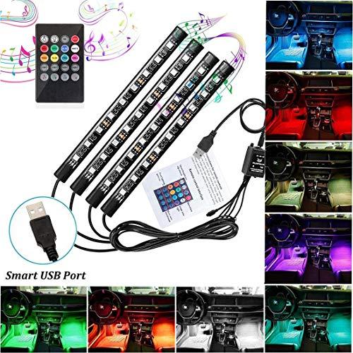 Auto Innenraumbeleuchtung LED Atmosphäre Licht RGB Auto Fußraumbeleuchtung 36 LEDs Auto Streifen Licht Steuerbare mehrfarbig Musik Innenbeleuchtung mit USB-Port und Fernbedienung (36 Leds)