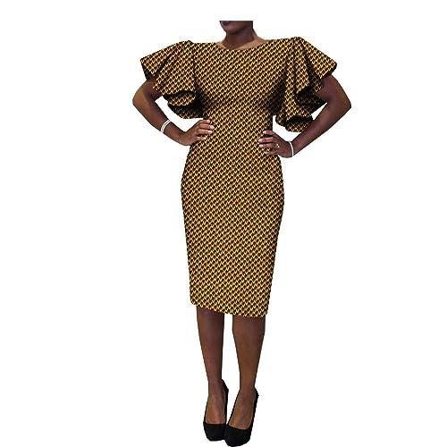 African Ankara Print Short Butterfly Sleeve O-Neck Knee-Length Casual Women  Dresses 100 eead640c4d3b