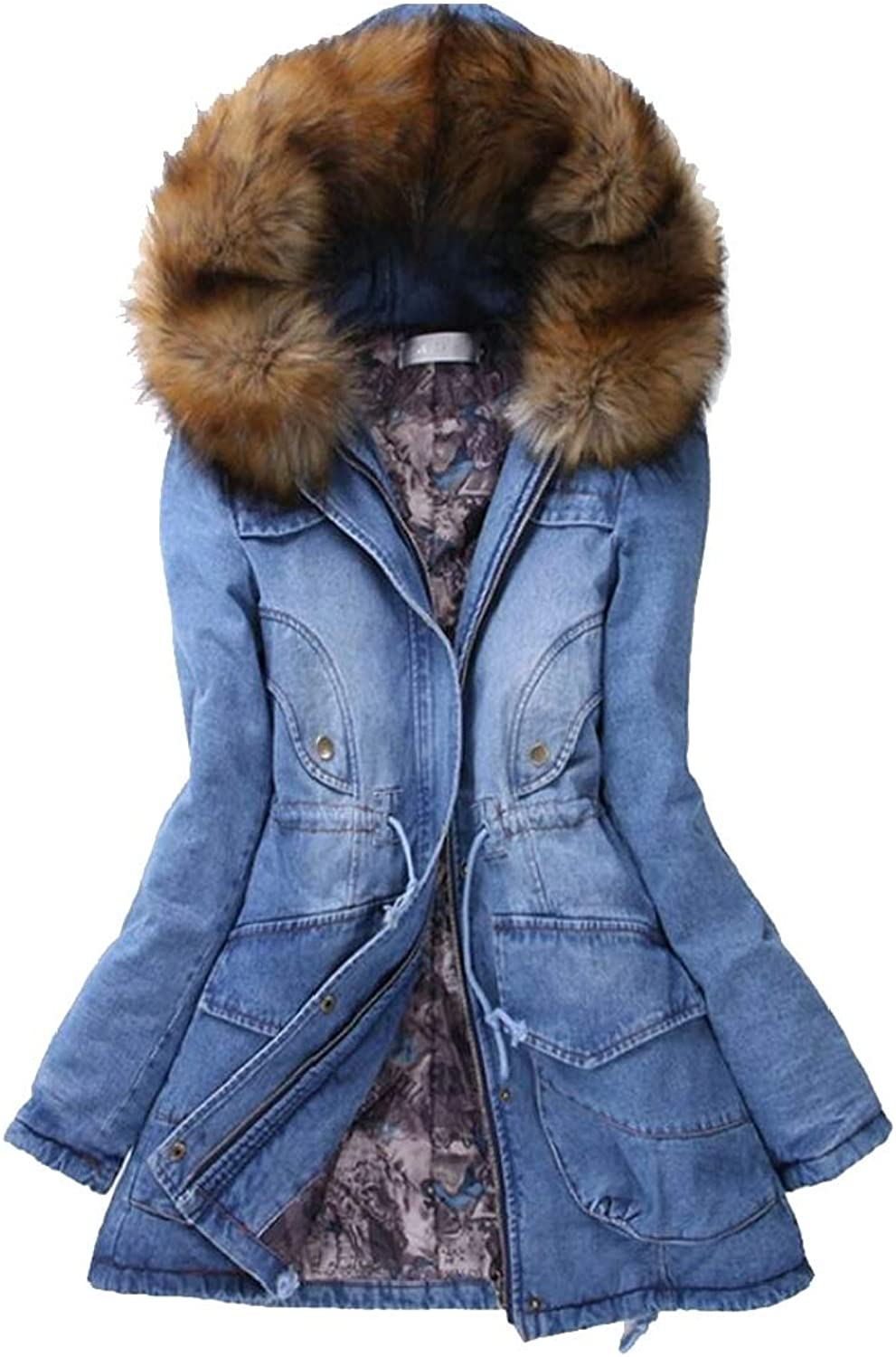 GenericWomen Winter Padded Denim FauxFur Collar Mid Long Length Thick Down Jacket Coat