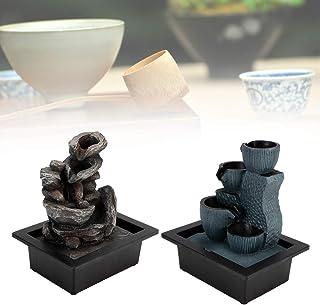Desktop Fontein, Desktop LED Waterfontein Ornament Hars Ambachten Stromende Waterfontein met Watervallen Pomp voor Thuiska...