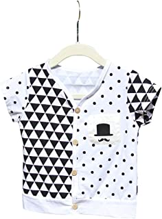 FengChi Little Boy Toddler Triangle Polka Dot T-Shirt Top With Mustache Detail
