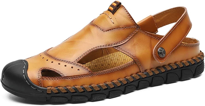 LXJL Sports outdoor sandals men's leather baotou elastic sandals men's shoes breathable hollow beach shoes,b,41