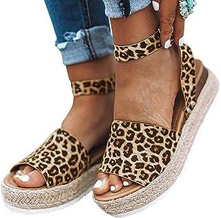 Ecolley Fashion Summer Beach Sandals for Women Wedge Open Toe Ankle Strap Sandal Espadrille Platform Flat, Leopard, 6.5