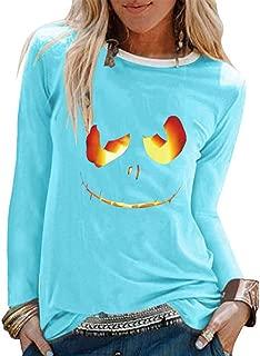 CUCUHAM women Halloween Print Shirts O-Neck Long Sleeve Top Loose T-Shirt Blouse