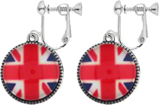 Fashion Union UK Flag Clip on Earrings Round Button Patriotic Statement Dangle for Women Girl