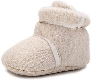 Delebao Baby Cozy Fleece Booties with Non Skid Bottom Indoor Slipper Winter Warm Shoes Socks