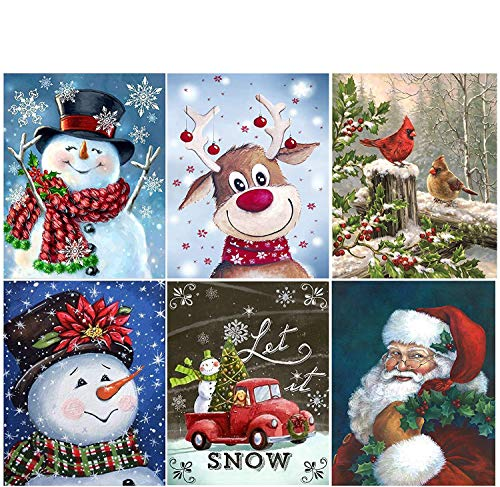 JLHATLSQ 6 Packs DIY 5D Diamond Painting Kits for Adults, Christmas Gifts Round Full Drill Crystal Rhinestone Embroidery Cross StitchDiamond Arts for Home Wall Decor(Canvas 9.8x13.7)