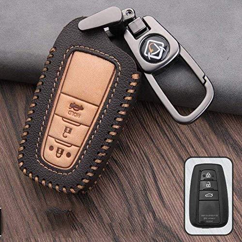 SDFGDFGD Anillo de protección de Llave Cubierta de Llave de Coche, para Toyota Auris Corolla Avensis Verso Yaris Aygo Scion TC Camry C-HR CHR PradoC-marrón