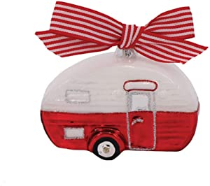 DEI 14289 Red and White Vintage Camper Hanging Ornament, 4-inch Diameter