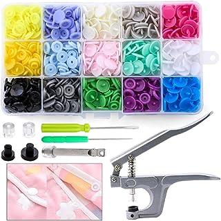 N\C Snaps tång med 150 set T5 tryckknappar i 15 färger sömnadsfri tryckknapp snaps tryckknappar set plasttryckknappar för ...