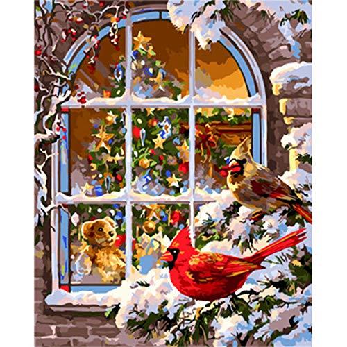 ARTEZXX Verf Door Getallen Sneeuwvogel In Voorzijde Van Het Raam Voor Volwassenen en Kinderen DIY Digitale Olie Schilderij Gift Kits Pre-Printed Canvas Art Home Decoratie 16 * 20 inch