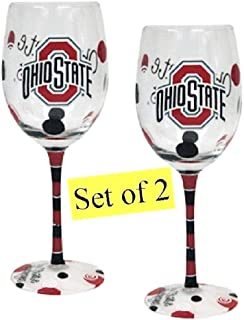 Ohio State Buckeyes Hand Painted Wine Glasses - Set of Two