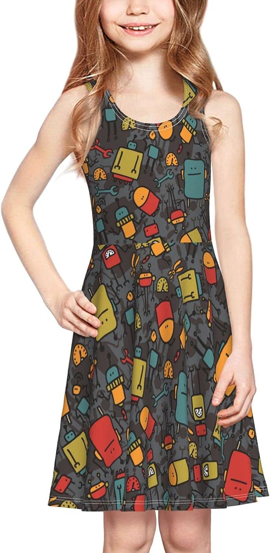Robot On Dark Girls Sleeveless Dress Summer Beach Dress Casual Tank Outfit Adorable Swing Skirt Sundress 2-6 T