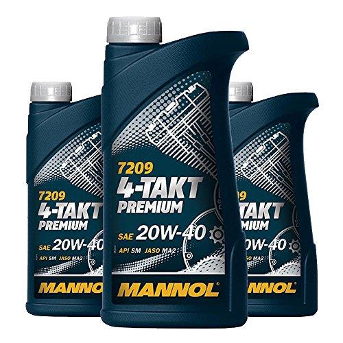 MANNOL 3 x 1L 7209 4-Takt Premium/SAE 20W-40 JASO MA2 API SM Motorradöl Mineral