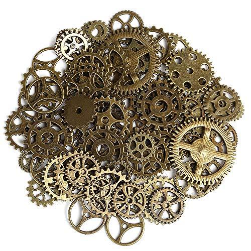 200 Piezas Antiguas Ruedas de Engranajes Esqueleto Steampunk Colgante Encantos Reloj Reloj Ruedas de engranajes para Artesanías de BRICOLAJE,Fabricación de Joyas,Cosplay Accesorios de Vestir de Bronce