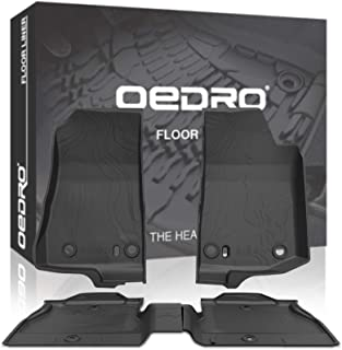 OEDRO Floor Mats Compatible for 2018-2020 Jeep Wrangler JL 4-Door, Black TPE All Weather Guard, 1st & 2nd Row Custom Fit Full Set Liners